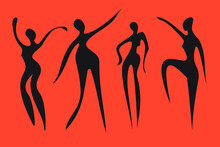 Abstract Disproportionate Black Silhouettes Of Ladies Drawn In Primitive Manner On Orange Background.