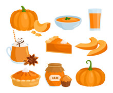 Pumpkin Vegetable Food Menu Set, Cartoon Raw And Cooked Pumpkin Dishes Collection