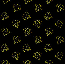 Vector Seamless Pattern Of Hand Drawn Doodle Gold Diamonds Isolated On Black Background