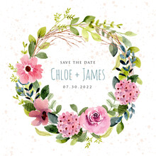 Save The Date With Lush Pink Flower Garden Watercolor Wreath
