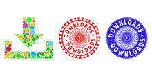 Downloads Composition Of New Year Symbols, Such As Stars, Fir-trees, Color Balls, And DOWNLOADS Corroded Stamp Seals. Vector DOWNLOADS Stamps Uses Guilloche Pattern, Designed In Red And Blue Versions.