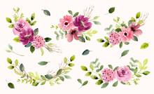 Pink Purple Floral Garden Watercolor Arrangement Collection