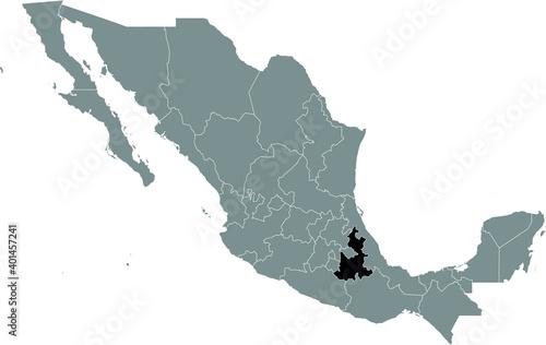 Fotografia, Obraz Black location map of Mexican Puebla state inside gray map of Mexico