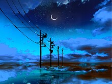 A Mysterious Landscape Where The Blue Night Sky Is Reflected In The Sea And Utility Poles Disappear Beyond The Horizon