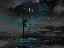 A Mysterious Landscape Where The Night Sky Is Reflected In The Sea And Utility Poles Disappear Beyond The Horizon