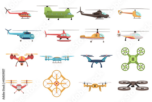 Papel de parede Helicopters And Drone Set