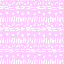 Seamless Pattern Of Simple Vector Bright Elements Stars Points Rounds Stripes Lines And Rectangles. Abstract Background And Texture For Greeting Cards, Wrapping Paper, Birthday, Fabric