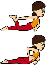 Yoga Asana Set Half Frog Pose / Illustration Cartoon Girl Doing Ardha Bhekasana Variations