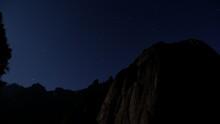 Night Sky With Stars In Yosemite, Half Dome And El Capitan