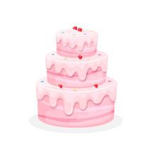 Birthday Cake Iillustration Sweet Baked Cakes