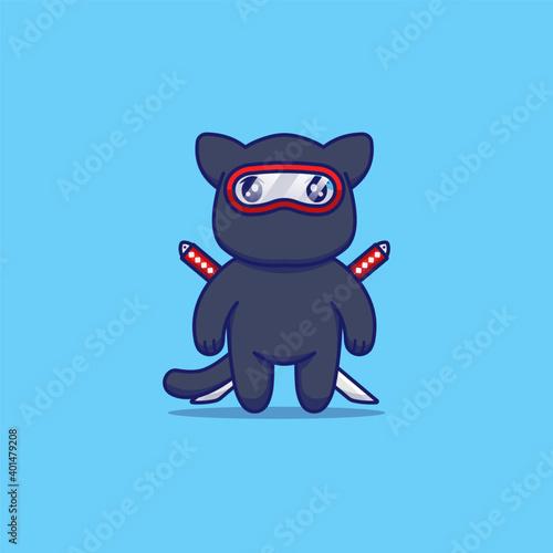 Cute tomcat with ninja costume Wallpaper Mural