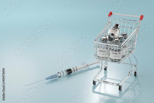 Fotomural ワクチンの瓶を乗せたショッピングカートと注射器の3Dレンダリンググラフィックス / コロナウイルス対策・ワクチン開発のコンセプトイメージ