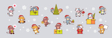 Set Little Oxes In Santa Hats Happy New Year Banner 2021 Greeting Card Cute Cows Mascot Cartoon Characters Collection Full Length Horizontal Vector Illustration