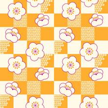 鹿の子模様の入った黄色の市松柄に白梅の花が並んだシームレスベクターパターン