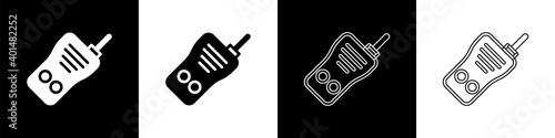 Billede på lærred Set Walkie talkie icon isolated on black and white background