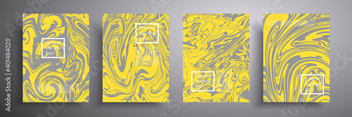 Fototapeta Modern design. Trending colors of 2021. Abstract texture of liquid colors of gray and yellow. Presentation design, printing, flyers, business cards, menus, posters, sites, packaging, cover. obraz