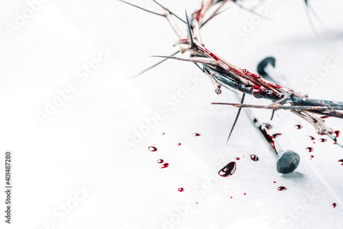 Crown of thorns with blood dripping, nails on stone Tapéta, Fotótapéta