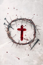 Crucifix Made Of Blood, Crown Of Thorns. Good Friday. Easter Holiday. Christian Cross Painted With Blood On Stone Background. Passion, Crucifixion Of Jesus Christ. Gospel, Salvation Concept