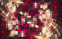 Abstract Illustration Background Image Small Squares Of Yellow Red Shades With Glass Effect Similar To A Whimsical Pattern Of A Stained Glass Figure Forming A Spiral