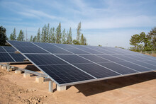 Photovoltaic Renewable Energy Solar Farm Site For Electrical Supply For Future. Green Energy Is Main Power For Future.