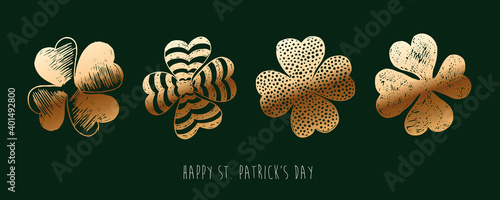 Tela Golden clover set. Patrick's day. Hand drawn illustration.