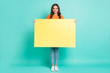 Full Size Photo Of Young Beautiful Happy Cheerful Smiling Girl Hold Big Banner Advertisement Isolated On Teal Color Background