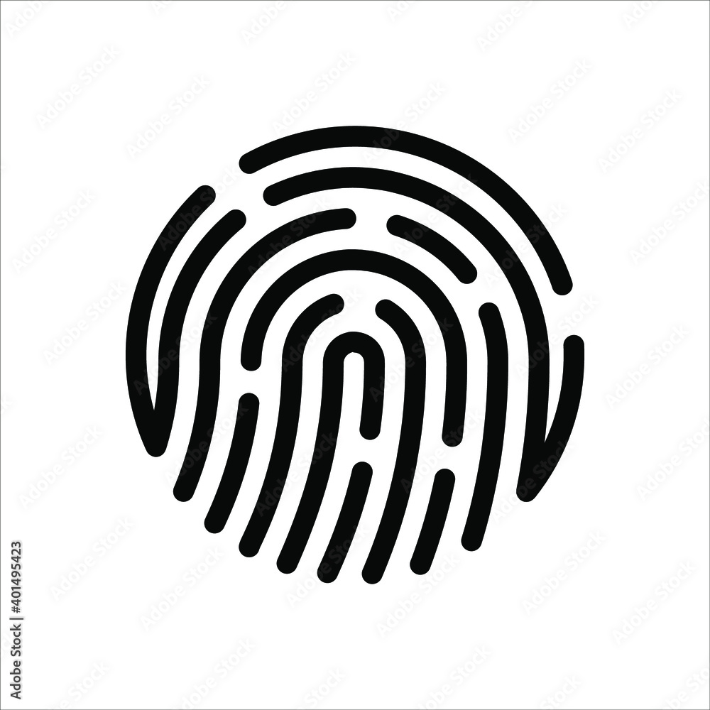 Fototapeta Fingerprint sign icon. Digital security authentication concept. vector illustration on white background