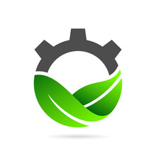 Eco Gear Logo With Leaf Concept