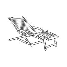 Hand Drawn Beach Chairs. Deckchair Vector Sketch Illustration