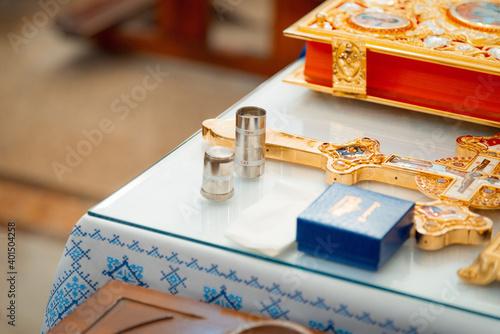 Fotografie, Tablou Accessories for infant baptism