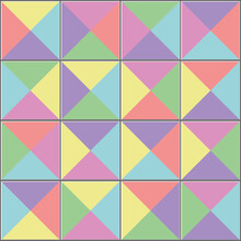 Triangular Colorful Tiles Floor. Vector Seamless Pattern. Ceramic Texture Background. Seamless Tiling Pattern. Colorful Ceramic Brick Wall. Modern Design With Soft Colors.