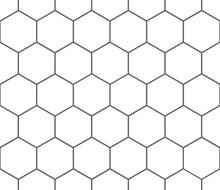Bee Honeycomb Seamless Pattern, Art Honey Texture. Black And White Honeycomb Hexagon Pattern.