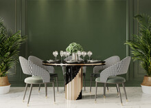 Dining Table In Front Of The Green Wall, 3d Render