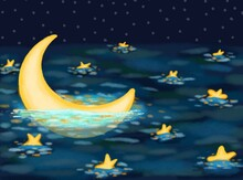 Moonlight Mistery. Seascape With Half Moon And Stars At The Night Sea. Crescent Moon On Sea In Magic Night. Fairy Dust. Infinity. Romantic Art Illustration In The Style Of Impressionist Paintings.