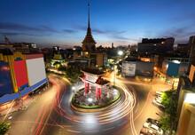 The Gateway Arch (Odeon Circle) And Temple, Landmark Of Chinatown Bangkok