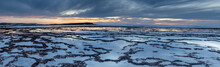 Beautiful Panorama Sunset Over The Ocean With Rocky Beach And Tidal Pools In The Foreground
