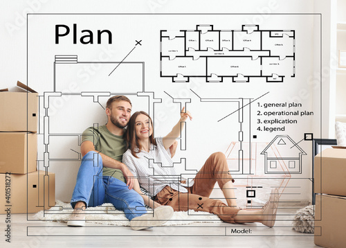 Photo Happy couple planning design of their new house