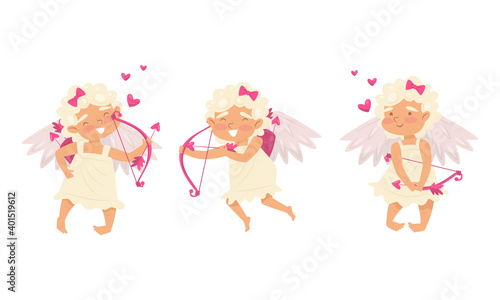 Winged Chubby Girl Cupid with Bow and Arrow Vector Set Fotobehang