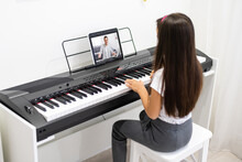 Music Piano Internet Class At Home. Studying Online