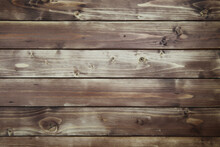 View On Old Vintage Natural Wooden Brown Board With Horizontal Lines Of Planks And Knotholes
