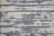 View On Old Vintage Natural Wooden Retro White Painted Board With Horizontal Lines Of Planks And Knotholes