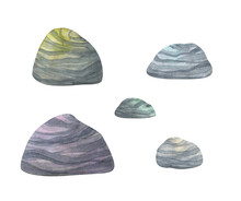 Colored Stones. Collection Of Watercolor Clip Art In Cartoon Style. Decorative Pebbles Isolated On White Background For Natural Decor