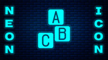 Glowing Neon ABC Blocks Icon Isolated On Brick Wall Background. Alphabet Cubes With Letters A,B,C. Vector.