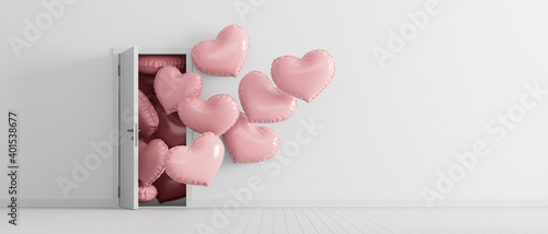 Billede på lærred Heart shaped balloons come out from the door in white room with copy space