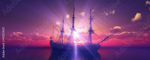 Obraz old ship sunset at sea 3d rendering - fototapety do salonu