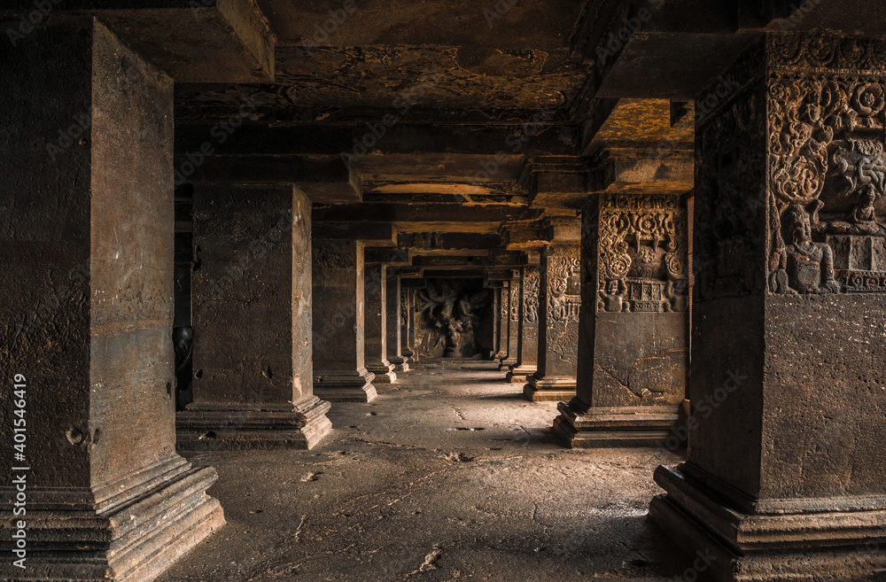 Fototapeta The pillars in Ellora caves near Aurangabad, Maharashtra state in India