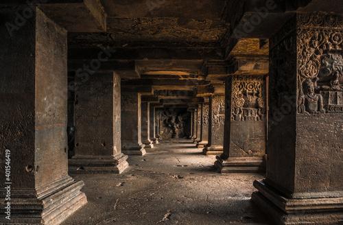 The pillars in Ellora caves near Aurangabad, Maharashtra state in India - fototapety na wymiar