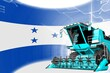 Digital industrial 3D illustration of blue advanced grain combine harvester on Honduras flag - agriculture equipment innovation concept