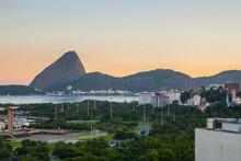Sunset Flemish Landfill , Sugarloaf And Guanabara Bay In Rio De Janeiro.