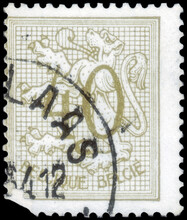 Postage Stamp Issued In Belgium With The Image Of The Number 40 On Heraldic Lion, Circa 1951